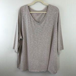 Catherines Beige & Tan V-Neck T-Shirt